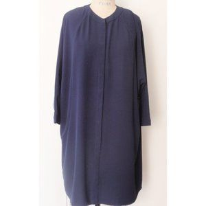 NEW YORK & COMPANY NAVY PAISLEY SHIFT DRESS XL